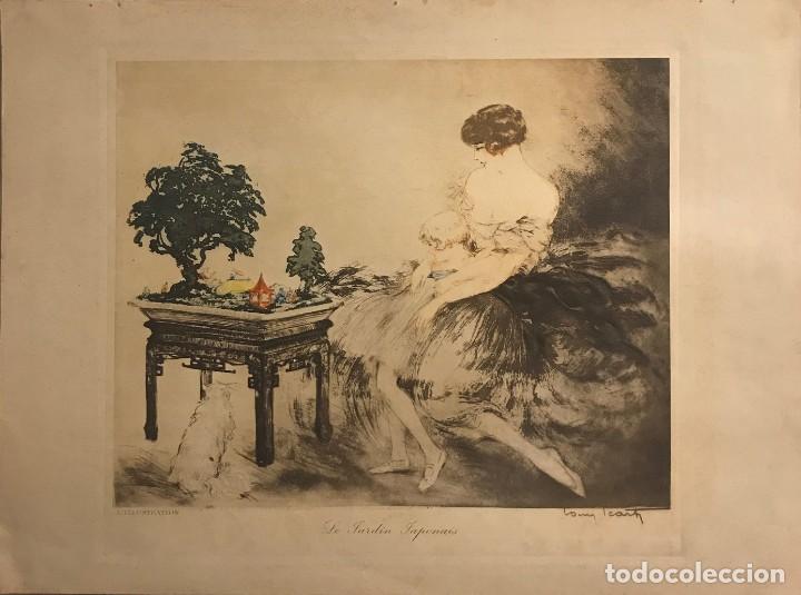 1932 Le Jardin Japonais. Aguafuerte en color. Firmado. París 38x28,2 cm