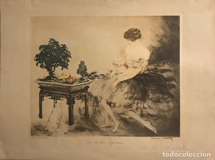 1932 LE JARDIN JAPONAIS. AGUAFUERTE EN COLOR. FIRMADO. PARÍS 38X28,2 CM (Arte - Grabados - Contemporáneos siglo XX)