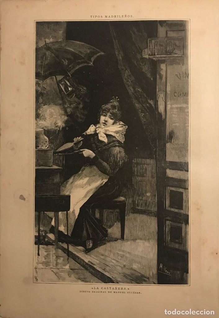 LA CASTAÑERA. TIPOS MADRILEÑOS. DIBUJO ORIGINAL DE MANUEL ALCAZAR. REPRODUCCIÓN GRABADO ÉPOCA. (Arte - Grabados - Modernos siglo XIX)