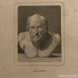 Grabado antiguo de Diógenes