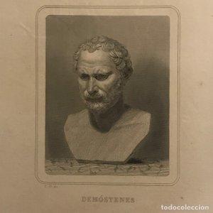 Grabado antiguo de Demóstenes