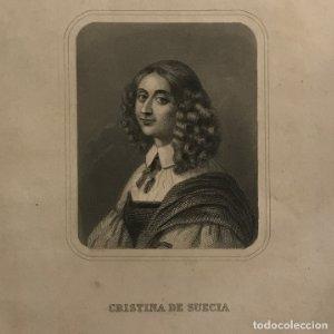 Grabado antiguo de Cristina de Suecia