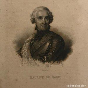 Grabado antiguo de Maurice de Saxe