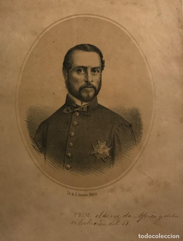 JUAN PRIM Y PRATS (REUS, 1814-MADRID 1870) LITOGRAFÍA DE N.GONZALEZ, MADRID 25X16,7 CM (Arte - Grabados - Modernos siglo XIX)