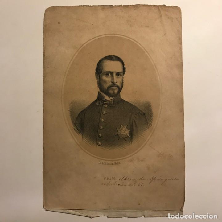 Arte: Juan Prim y Prats (Reus, 1814-Madrid 1870) Litografía de N.Gonzalez, Madrid 25x16,7 cm - Foto 2 - 149258910