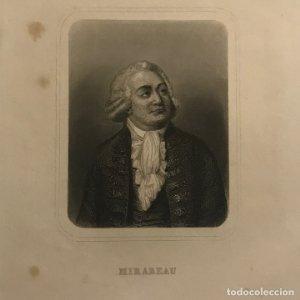 Grabado antiguo de Honore Mirabeau nacido como Gabriel Riqueti