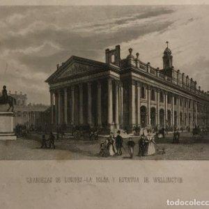 Grandezas de Londres. La Bolsa, y estatua de Wellington 24x15,5 cm