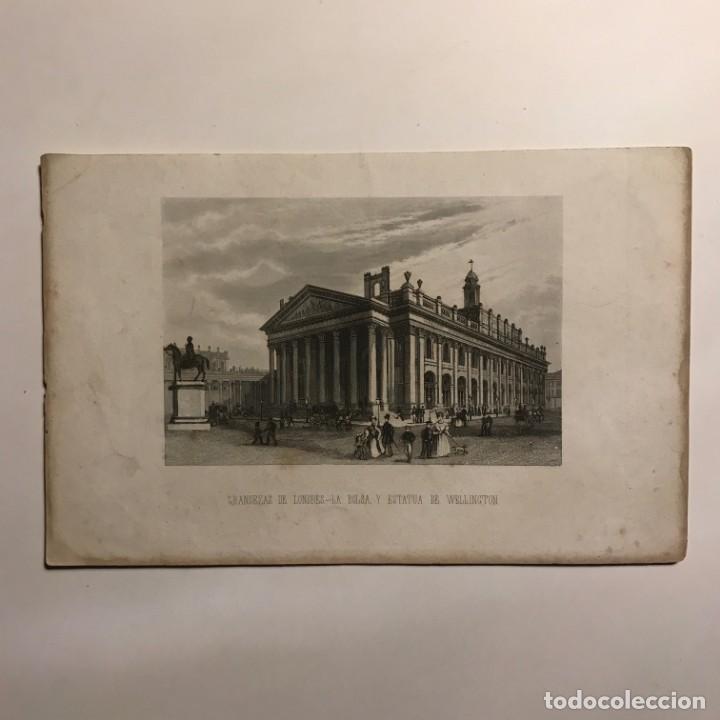 Grandezas de Londres. La Bolsa, y estatua de Wellington 24x15,5 cm - 149256762