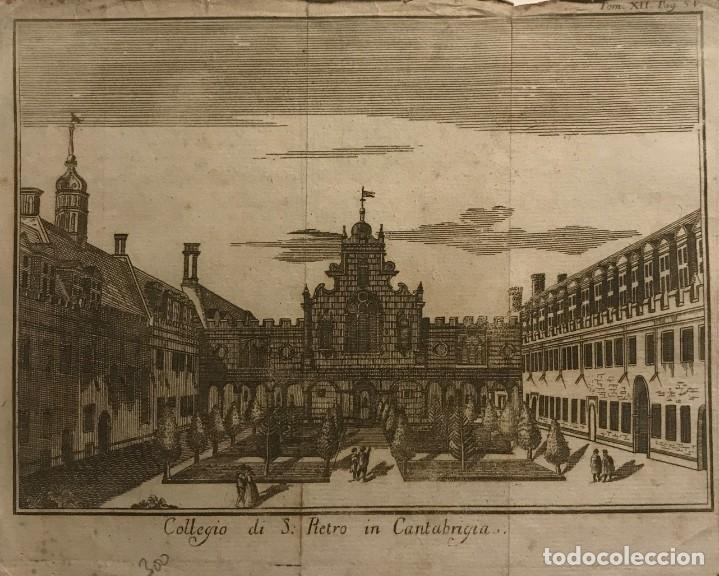 COLLEGIO DI S. PIETRO IN CANTABRIGIA. TOM.XII. PAG.54 22X16,8 CM (Arte - Grabados - Modernos siglo XIX)