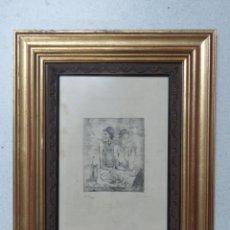 Arte: PABLO PICASSO GRABADO ORIGINAL FIRMADO Y NUMERADO A LAPIZ XIX/XX, LA COMIDA FRUGAL DE 1904,51X40 CMS. Lote 153818038