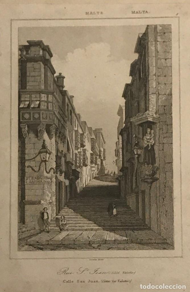 MALTA. CALLE SAN JUAN. CALLE SANTA ÚRSULA 22,5X32,5 CM (Arte - Grabados - Modernos siglo XIX)