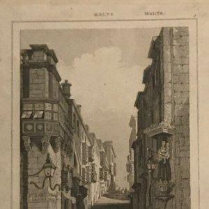 Malta. Calle San Juan. Calle Santa Úrsula 22,5x32,5 cm