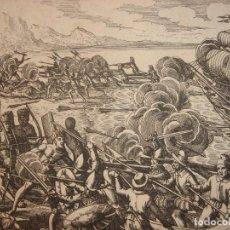 Arte: ESPLÉNDIDO GRABADO DESEMBARCO ESPAÑOL ISLA LA ESPAÑOLA, R. DOMINICANA, HAITÍ,ORIGINAL, DE BRY, 1619. Lote 204966666