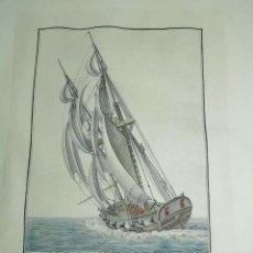 Arte: ANTIGUO GRABADO BERGANTIN ESPAÑOL, SIGLO XIX, DIBUJADO POR EL ALFÉREZ DE FRAGATA AGUSTÍN BERLINGUERO. Lote 154235554