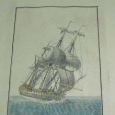 Arte: ANTIGUO GRABADO NAVIO ESPAÑOL DEL PORTE DE 74 CAÑONES, SIGLO XIX, DIBUJADO POR EL ALFÉREZ DE FRAGATA. Lote 154235794