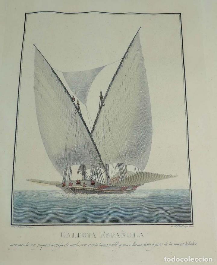 ANTIGUO GRABADO GALEOTA ESPAÑOLA, SIGLO XIX, DIBUJADO POR EL ALFÉREZ DE FRAGATA AGUSTÍN BERLINGUERO, (Arte - Grabados - Modernos siglo XIX)