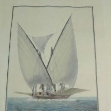 Arte: ANTIGUO GRABADO GALEOTA ESPAÑOLA, SIGLO XIX, DIBUJADO POR EL ALFÉREZ DE FRAGATA AGUSTÍN BERLINGUERO,. Lote 154235922