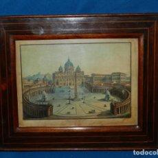 Arte: (M) GRABADO PIAZZA DI S PIETRO , PRESSO D MUCA, GRABADO S.XVIII / XIX CON MARCO CON MARQUETERIA. Lote 154285378