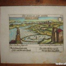 Arte: GRABADO CÁDIZ, ORIGINAL,1630, MEISNER/ KIESER, RARÍSIMO, ESPLÉNDIDO ESTADO Y COLOREADO. Lote 154359014