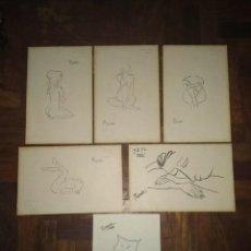 Arte: LOTE DE 6 DIBUJOS ORIGINALES DE PICASSO CON SELLOS DEL MUSEO PICASSO Y DE SU FUNDACION PARTE TRASERA. Lote 154750230
