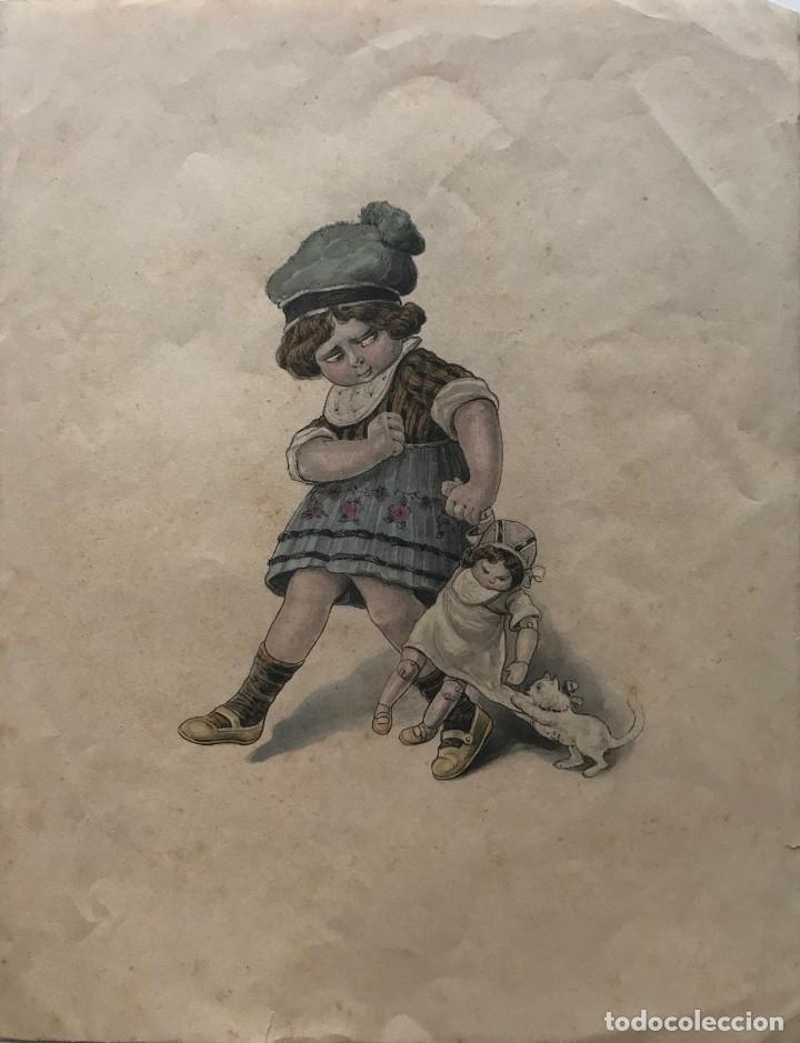 GRABADO MOTIVO INFANTIL 17,3X22,4 CM (Arte - Grabados - Modernos siglo XIX)