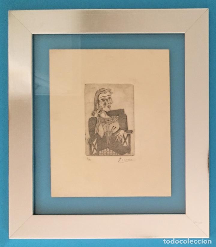 PICASSO - GRABADO ORIGINAL FIRMADO A MANO - RETRATO DE DORA MAAR - PRUEBA DE ARTISTA - 40 X 35 CM. (Kunst - Druckgrafik - Zeitgenössische 20. Jahrhundert)