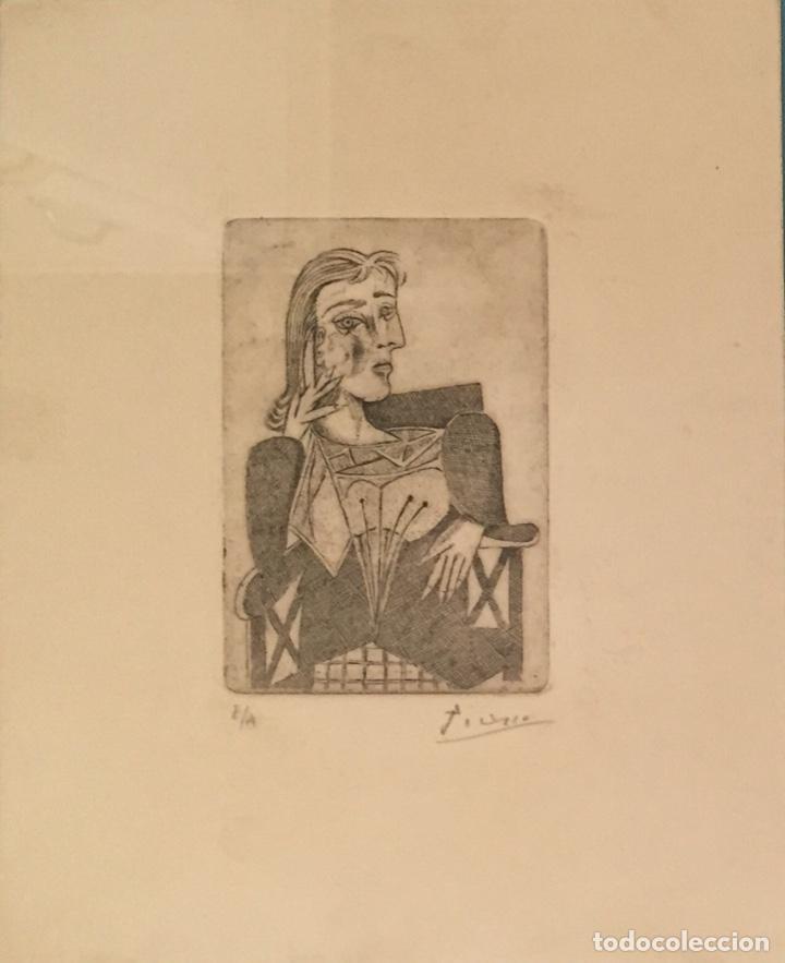 Kunst: PICASSO - GRABADO ORIGINAL FIRMADO A MANO - RETRATO DE DORA MAAR - PRUEBA DE ARTISTA - 40 x 35 cm. - Foto 3 - 154796214