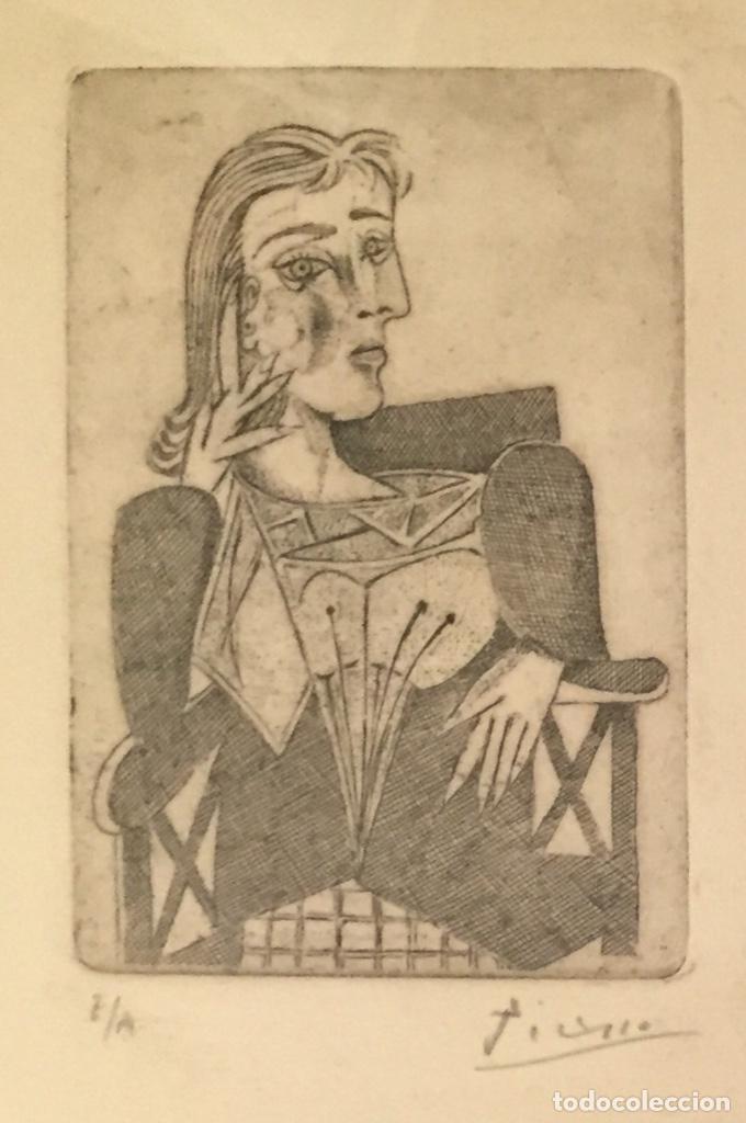 Kunst: PICASSO - GRABADO ORIGINAL FIRMADO A MANO - RETRATO DE DORA MAAR - PRUEBA DE ARTISTA - 40 x 35 cm. - Foto 4 - 154796214