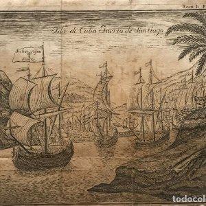 Grabado isla de Cuba Puerto de Santiago 19x14,6 cm