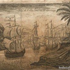 Arte: GRABADO ISLA DE CUBA PUERTO DE SANTIAGO 19X14,6 CM. Lote 155019674