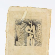 Arte: CURIOSO GRABADO CUBISTA CON PERSONAJE, FIRMA ILEGIBLE. 26X18CM. Lote 155086538
