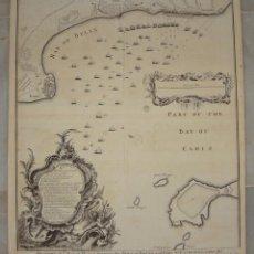 Arte: ANTIGUO GRABADO DE LA BAHÍA DE CÁDIZ. S.XVIII. PLANO DE BATALLA DURANTE LA GUERRA DE SUCESIÓN. . Lote 155097482