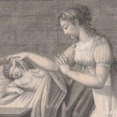 Arte: GRABADO ORIGINAL DE PIERRE PRUD'HON. FINALES DE S XVIII. ALPHONSINE OU LA TENDRESSE MATERNELLE. Lote 134976870