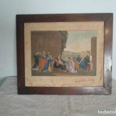Arte: GRABADO ANTIGUO FRANCÉS LA BÉNÉDICTION ENMARCADO. Lote 156596830
