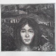 Arte: RICARDO BAROJA (HUELVA 1879-1954) LA RUSA: GRABADO 14X17 PAPEL 38X56CMS. CERTIFICADO. Lote 156670650