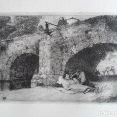 Arte: RICARDO BAROJA (HUELVA 1879-1954) LA MUERTE SOBRE EL PUENTE GRABADO 14X21 PAPEL 38X56CMS CERTIFICADO. Lote 156670942