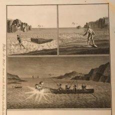 Arte: DIVERSOS TIPOS DE PESCA ARTESANAL DESDE MAR Y TIERRA, 1792. BERNARD/PANCKOUCKE. Lote 156696820