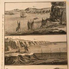 Arte: PESCA ARTESANAL DESDE LA COSTA, 1792. BERNARD/PANCKOUCKE. Lote 156698728