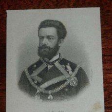 Arte: GRABADO DEL REY AMADEO DE ESPAÑA, AÑO 1871 APROX. MIDE 12 X 7,5 CMS.. Lote 157338526