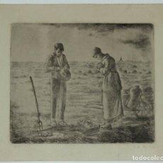 Arte: JEAN FRANCOIS MILLET GRABADO ORIGINAL FIRMADO A LAPIZ Y NUMERADO 13/75, ANGELUS DE 1849, 30X25 CMS. Lote 157341042