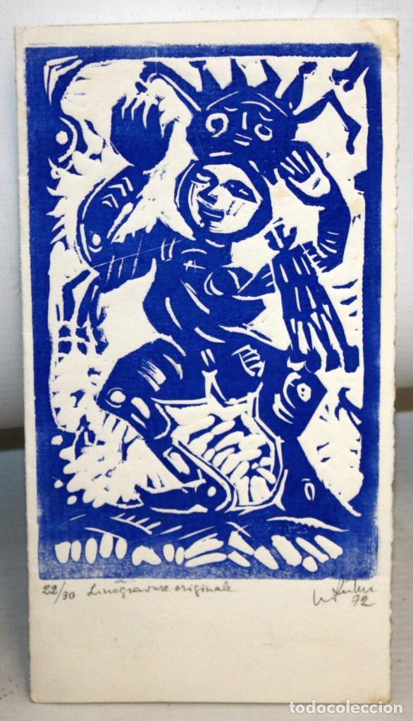 EUGENÈ FIDLER - FELICITACIÓN DE NAVIDAD DE 1972 - LINOGRABADO - 22/30. DEDICADO A JOAN GASPAR. (Arte - Grabados - Contemporáneos siglo XX)