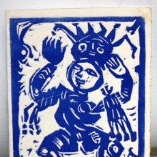 Arte: EUGENÈ FIDLER - FELICITACIÓN DE NAVIDAD DE 1972 - LINOGRABADO - 22/30. DEDICADO A JOAN GASPAR.. Lote 157689838