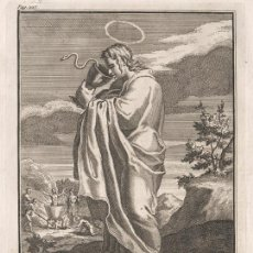Arte: GRABADO PLANCHA DE COBRE DE 1760, SAN JUAN EL EVANGELISTA. WILLIAM BURKITT, INFOLIO, SIGLO XVIII. Lote 157722142