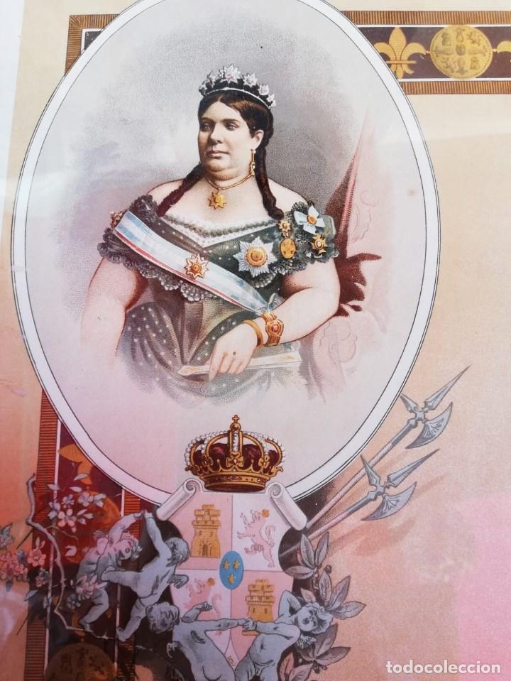 Arte: CUADRO CON GRABADO ANTIGUO DE ISABEL II EDITOR FELIPE GONZALEZ ROJAS MEDIDAS: 45 X 34,5 CMS. - Foto 2 - 157741838