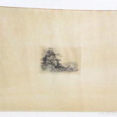 Arte: TOMÁS CAMPUZANO AGUIRRE (1857 - 1937), GRABADO, PAISAJE, MONTAÑA Y SEÑORA. 38,5X28,5CM. Lote 158378066