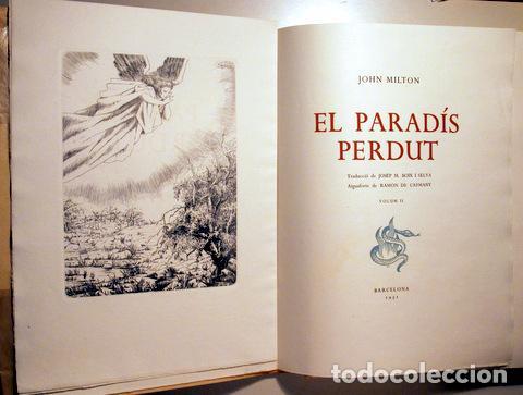 MILTON, JOHN - CAPMANY, RAMON - EL PARADÍS PERDUT (2 VOL. - COMPLET) - BARCELONA 1950 - AIGUAFORTS - (Arte - Grabados - Contemporáneos siglo XX)