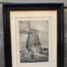 Arte: MANUEL BENEDITO, GRABADO, 1920'S, PAISAJE HOLANDÉS CON MOLINO Y PERSONAJES, FIRMADO Y ENMARCADO.. Lote 158568090