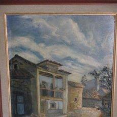 Arte: CASAS DE ALEVIA, ASTURIAS, 1949, ÓLEO SOBRE TABLA 40X32 CM.DEL PINTOR CASTO DEL CASTILLO (CANTABRIA). Lote 158652134