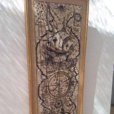 Arte: ANTIGUO GRABADO NAUTICO CARTA NAUTICA NAVAL EN TELA VINTAGE CORRECTO CALIDAD PRECIOSO GRABADO BARCO. Lote 158933158
