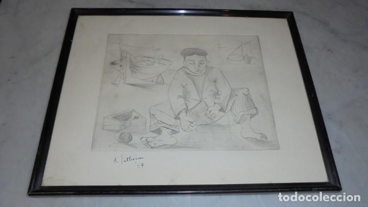 (M) ANTIGUO GRABADO FIRMADO K. PATTERSON 54 ENMARCADA 38,5X31 CM. (Arte - Grabados - Contemporáneos siglo XX)